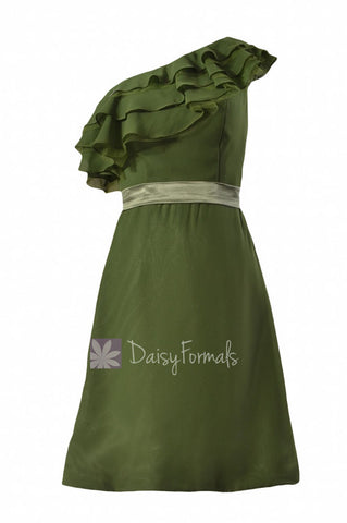 Appealing Hunter Green One Shoulder Chiffon Bridesmaid Dress Cocktail Dress w/ Ruffles(BM244)