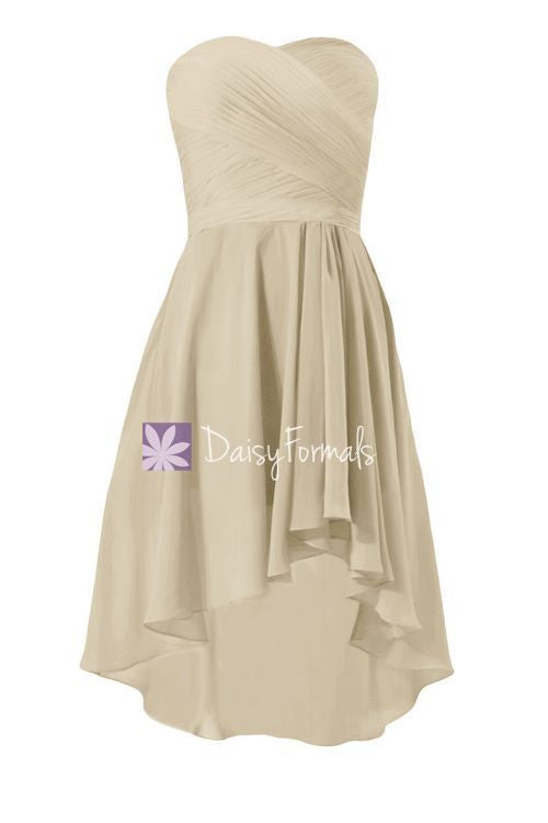 High-Low Champagne Chiffon Bridesmaids Dress Short Party Dress Formal Prom Dress (BM2440)