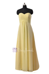 Simple floor length chiffon bridal party dress sweetheart light yellow discount formal dress(bm2442l)