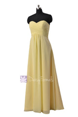 Simple floor length chiffon bridal party dress sweetheart light yellow discount formal dresses(bm2442l)