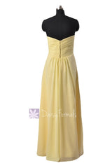 Simple Floor Length Chiffon Bridal Party Dress Sweetheart Light Yellow Formal Dress(BM2442L)
