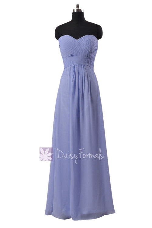 Sweetheart periwinkle chiffon party dress floor length pale lilac discount formal dress(bm2442)