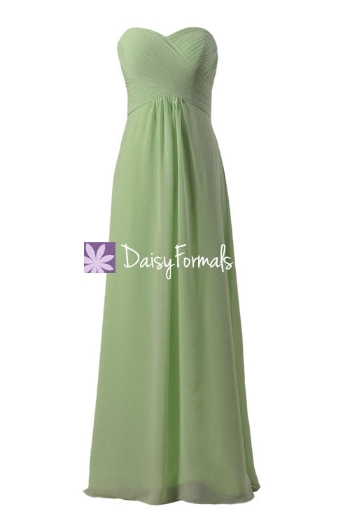 Strapless chiffon bridesmaid dress light green party wears formal evening gown(bm2442l)