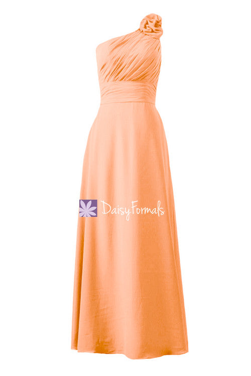 Floral one-shoulder strap bridesmaid dress online long chiffon party dress (bm2449)