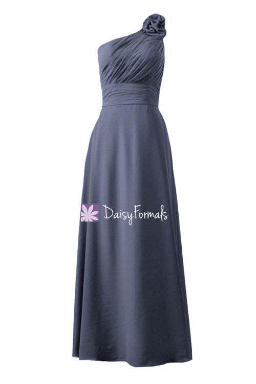 Navy chiffon affordable bridesmaid dress one-shoulder long women party dress(bm2449)