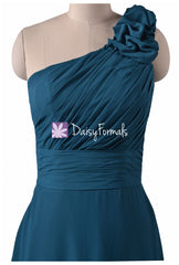 Long teal chiffon bridesmaid dresses one-shoulder long formal chiffon dresses(bm2449)