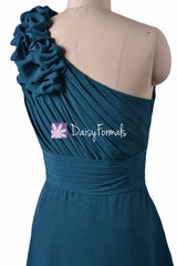 Navy Chiffon Bridesmaid dresses One-Shoulder Long Women Party Dress(BM2449)