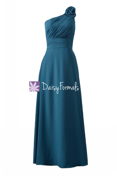 Long teal chiffon bridesmaid dresses one-shoulder long formal chiffon dress(bm2449)