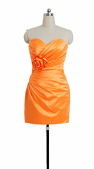 Fluorescent orange satin bridesmaid dress cocktail party dress w/handmade flowers (bm2450)