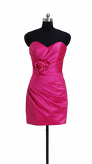 Hot pink satin party dress cocktail dress cheap bridesmaid dress (bm2450)