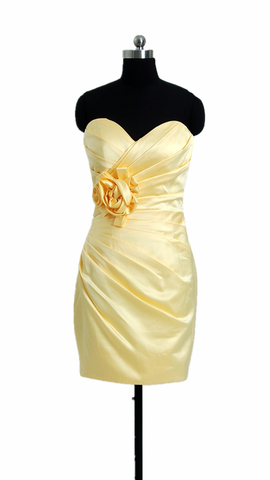 Banana Party Dress Cocktail Satin Bridesmaid Dress Short Sweetheart Dress (BM2450)