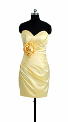 Banana party dress cocktail satin latest bridesmaid dress short sweetheart dress (bm2450)