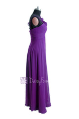 Empire purple unique bridesmaid dress long chiffon formal dresses w/floral strap(bm2454l)