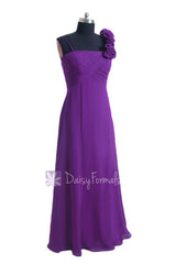 Empire purple unique bridesmaid dress long chiffon formal dress w/floral strap(bm2454l)