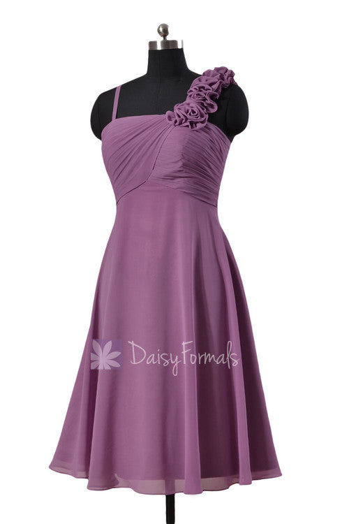 7f6e50ff0 Knee length pale purple chiffon dress unique bridesmaid dress w/spaghetti  straps(bm2454s)