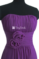 Dark Violet Chiffon Party Dress Strapless Deep Lilace Bridesmaids Dress (BM2460)