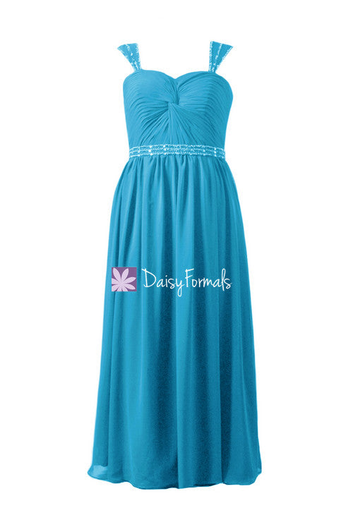 Floating beaded aura blue chiffon party dress beaded evening dress dress (bm247)