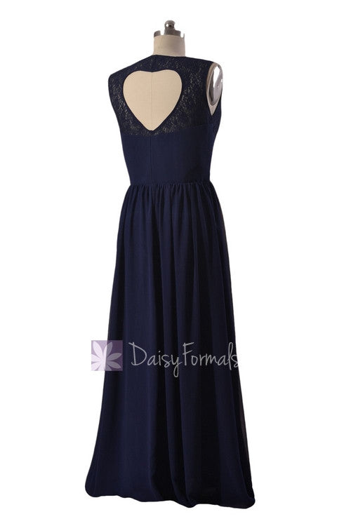 Floor length navy chiffon party dress lace formal dress w/heart shape hollow back (bm2528)