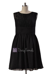 Knee length lace party dress black chiffon discount formal dress w/illusion neckline (pr1308)