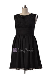 Knee length lace party dress black chiffon discount formal dresses w/illusion neckline (pr1308)