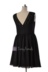 Knee Length Lace Party Dress Black Chiffon Formal Dress W/Illusion Neckline (PR1308)