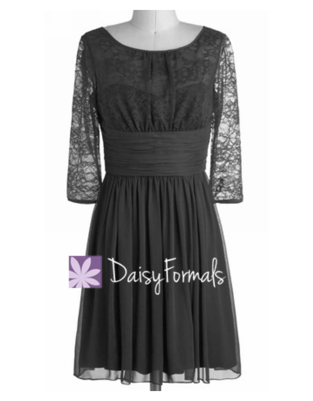 Black long sleeves lace party dress vintage 3/4 sleeves simple lace bridesmaid dress (bm2529as)