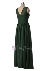 Long chiffon simple bridesmaid dress green formal dresses w/lace illusion neckline(bm2529l)