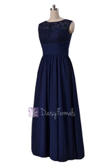 Gracious long chiffon evening dress navy formal dresses w/lace illusion neckline(bm2529l)
