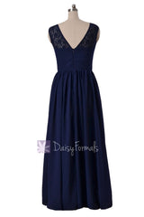 Gracious Long Chiffon Evening Dress Navy Formal Dress W/Lace Illusion Neckline(BM2529L)