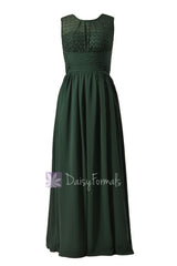 Long chiffon simple bridesmaid dress green formal dress w/lace illusion neckline(bm2529l)