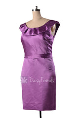 Short scoop neck satin bridesmaid dress vintage purple cocktail party dresses(bm253)