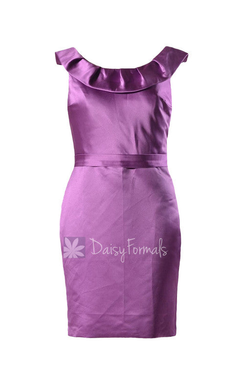 Short scoop neck satin bridesmaid dress vintage purple cocktail party dress(bm253)
