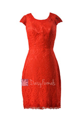 Sheath lace party dress short red lace latest bridesmaid dress w/cap sleeves(bm2530)