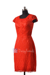 Sheath lace party dress short red lace latest bridesmaid dresses w/cap sleeves(bm2530)