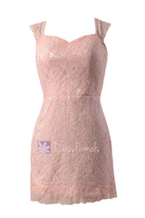 Short blush pink formal lace dress blush pink vintage lace bridesmaid dress (bm2530b)