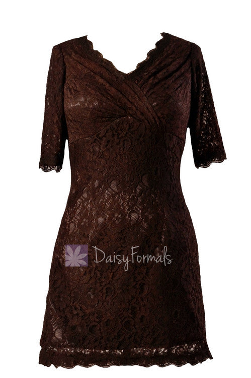 Vintage short v-neck lace party dress strong coffee formal bridesmaid dress(bm2531)