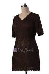 Vintage short v-neck lace party dress strong coffee formal bridesmaid dresses(bm2531)