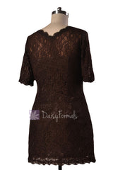 Vintage Short V-neck Lace Party Dress Strong Coffee Bridesmaid Dress(BM2531)