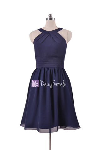 Classic Navy Chiffon Bridesmaids Dress Halter Party Dress Knee Length Formal Dress (BM253451 )