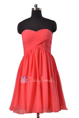 Adorable cherry chiffon dress for beach wedding short sweetheart bridesmaid dresses (bm256)