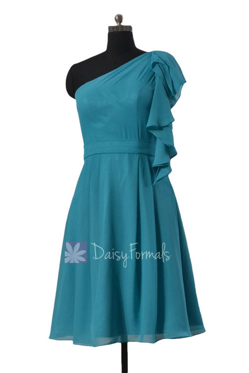 One shoulder affordable cocktail bridesmaid dress cyan bridal party dress w/cascade ruffles(bm261)