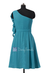 One shoulder affordable cocktail bridesmaid dress cyan bridal party dresses w/cascade ruffles(bm261)
