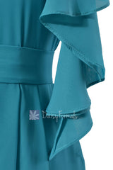 One shoulder Cocktail Bridesmaid Dress Cyan Bridal Party Dress w/Cascade Ruffles(BM261)