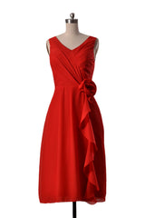 Eye-catching short v-neck bridesmaid dress red chiffon formal dress(bm266)