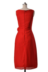 Eye-catching short v-neck bridesmaid dress red chiffon formal dresses(bm266)