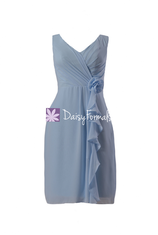Vintage blue bridesmaid dress vintage style chiffon party dress modest formal dress (bm266)