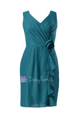 Rich teal v-neck knee length bridesmaid chiffon formal party dress(bm266)