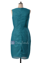 Rich teal v-neck knee length bridesmaid chiffon formal party dresses(bm266)