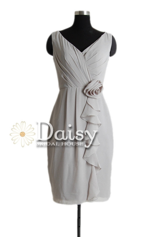 Vintage gray chiffon dress inexpensive short bridesmaid dress w/v neckline(bm266)
