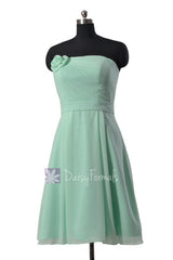 Short strapless chiffon bridesmaid dress cheap mint formal dresses w/ flowers(bm268a)